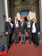 Prof Dr Gregory Copley, President of ISSA, USA, LTC Dr Steven Oluic, US-army rtd, INIS, Belgrade, Prof Dr Klaus Lange, ITS, Germany INIS, Prof Dr Jefferson Adams, Prof Emeritus of History, USA, INIS, Prof Dr Klara Knapp, ITS convenor, INIS